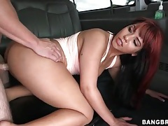 Redhead rides hard amateur cock in the car tubes
