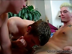 Vigorous cocksucking in hot gay threesome tubes