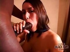 Slut on her knees sucks big black cock tubes