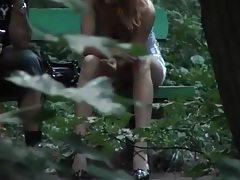 Voyeur upskirt video of sexy girl on a bench tubes