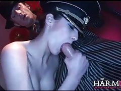 Hot slut sucks many dicks in blowbang tubes
