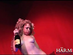 Champagne enema for naughty stage performer tubes