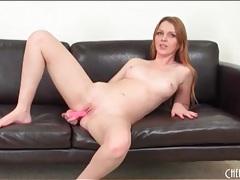 Redhead marie mccray fucks a pink dildo tubes