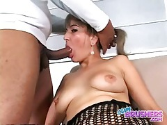 Latina makes her titties lactate on his cock tubes