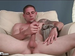 Hot guy with a big cock strokes it solo tubes