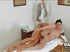Asian rides cock on the massage table tubes