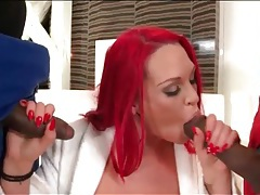 Pink hair slut blows two big cock black guys tubes