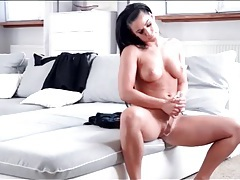Solo beauty strips off her robe and fucks a toy tubes