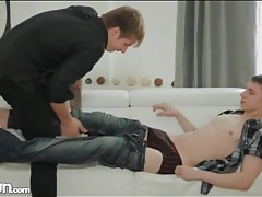 Twink kisses and sucks his lovers cock tubes
