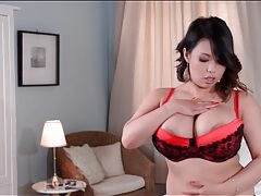Red and black lace bra on tigerr benson tubes