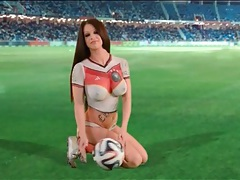 Painted on soccer uniform on big tits brunette chick tubes