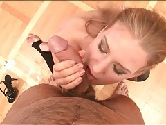 Blonde in gorgeous makeup sucks off a cock tubes