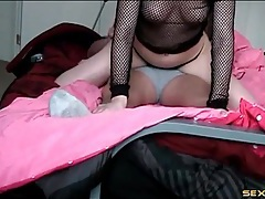 Hot lap dance from a big ass girl in gstring tubes