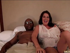 Milf gives head to his black cock tubes