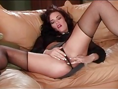 Hot cocksucking slut in collar and fishnets tubes