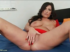 Skintight red dress on solo stripping milf tubes