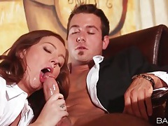 Secretary sits on his cock in the office tubes