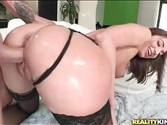Big cock fucks beauty in sexy black stockings tubes
