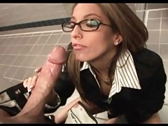 Secretary sucks big cock in office bathroom tubes