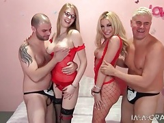 Red lingerie on sexy cocksucking girls tubes