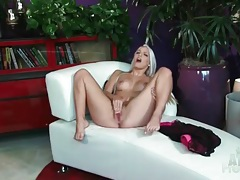 Long bleach blonde hair on solo masturbating beauty tubes