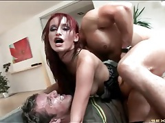 Hot redhead double penetrated in fishnets tubes