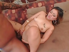 Tattooed asian gives sultry head to black cock tubes