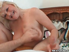 Cocksucking blonde milf rubs his dick on her face tubes