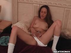 Masturbating girl in pretty white cotton panties tubes