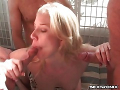 Horny mom spit roasted in threesome scene tubes