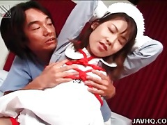 Japanese missionary sex with cum on her tits tubes