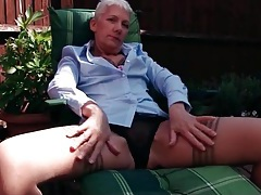 Short hair granny in sexy stockings outdoors tubes