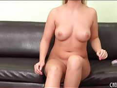 Curvy nude blonde talks to the camera guy tubes