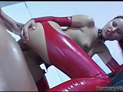 Beautiful slut in red latex fucked in the ass tubes