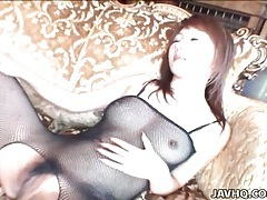 Babe in black fishnets spit roasted for hardcore sex tubes