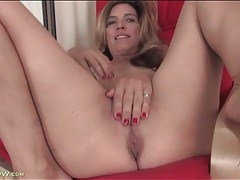 Skinny solo mature strips and rubs her pussy tubes