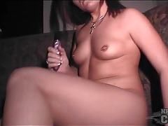 Naked pierced girl has toy sex in public tubes