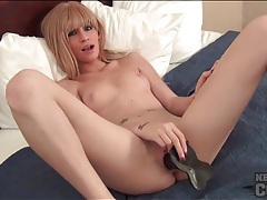 Black dildo in the shaved cunt of a cutie tubes