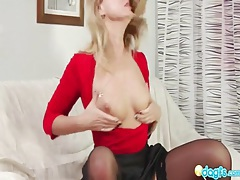 Hot milf in skirt and stockings sucks cock tubes