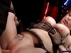 Beautiful curvy girl in stockings takes hard fucking tubes