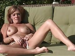 Big boobs mom masturbates outdoors in the sun tubes