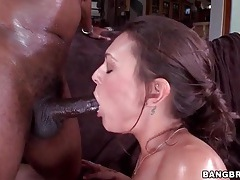 Hot chick slowly penetrated by monster black cock tubes