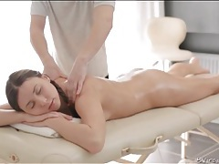 Sexy massage of oiled up girl in pigtails tubes