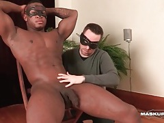 Gorgeous muscular black guy caressed tubes