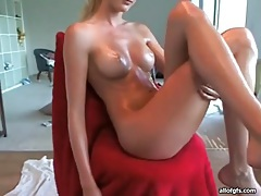 Oiled up webcam blonde has perfect body tubes