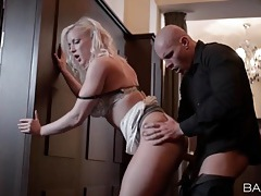 Blonde bent over and fucked against a wall tubes