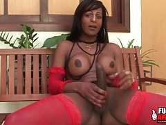 Big cock black shemale strokes her dick tubes