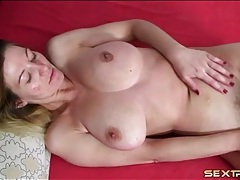 Big breasts blonde amateur masturbates her cunt tubes