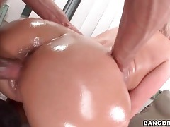 Big butt oiled up as she rides a dick tubes