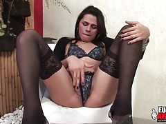 Stockings and heels are sexy on latina shemale tubes